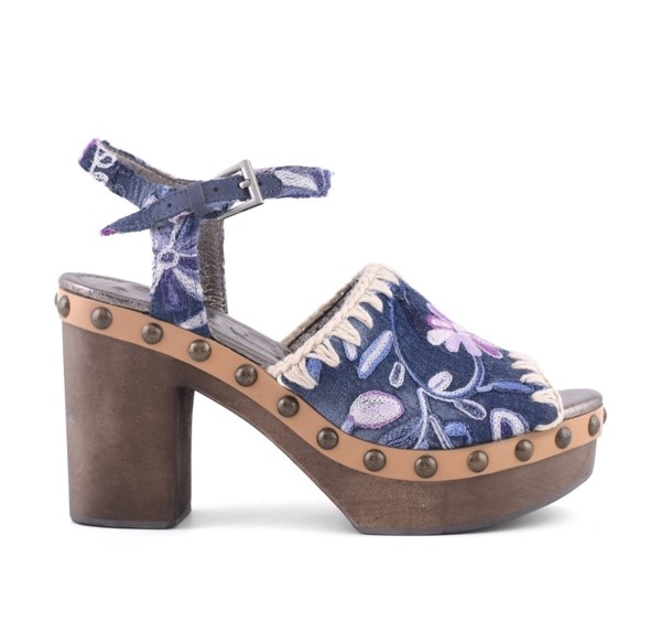 MOU ESKIMO HIGH WOOD SANDAL DENIM FLOWER