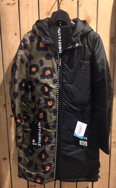 DIVISIBILE JACKET LONG REVERSIBLE ANIMALIER AND BLACK/BLACK