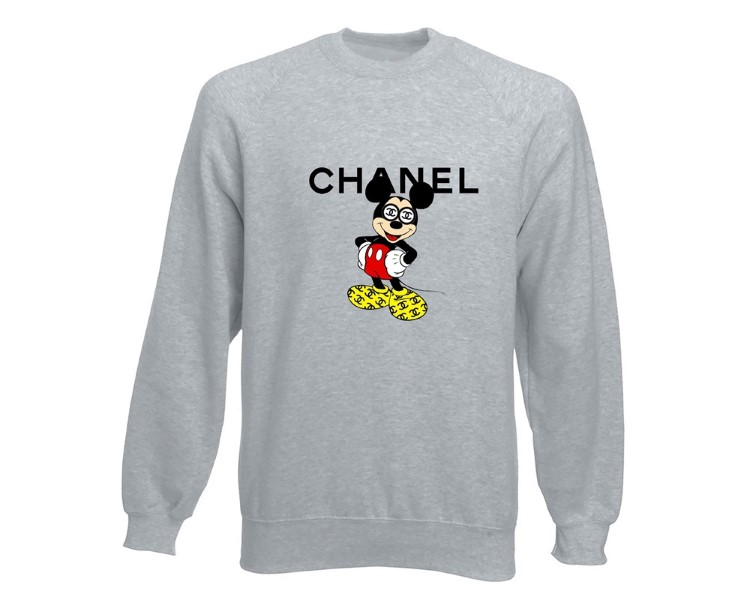 SUDADERA UNISEX FUCK YOUR FAKE CHANEL MICKEY GRIS