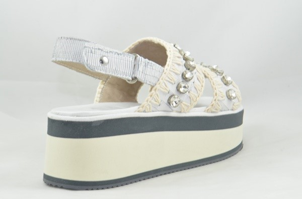 MOU FLATFORM SANDAL BIG CRYSTALS CUT WHITE