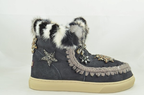 BOTA MOU ESKIMO SNEAKER STAR PATCH&MINK OFF BLACK