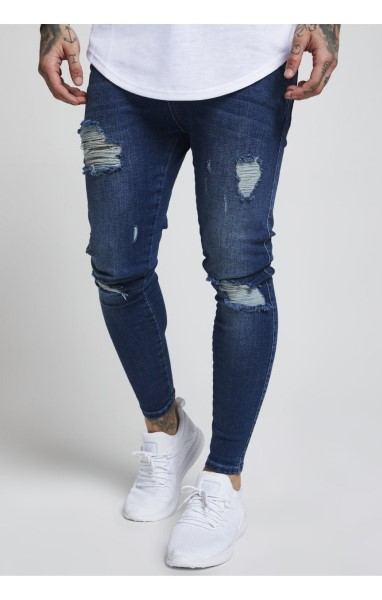 SIKSILK  SKINNY DISTRESSED DENIM – MIDSTONE