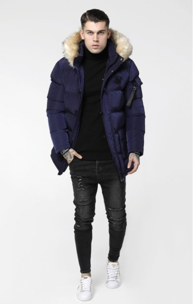 SIKSILK SHINY PUFF PARKA - NAVY 15038