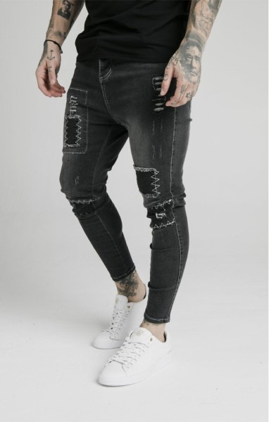 SIKSILK DROP CROTCH NEW PATCH DENIM – WASHED BLACK 15214