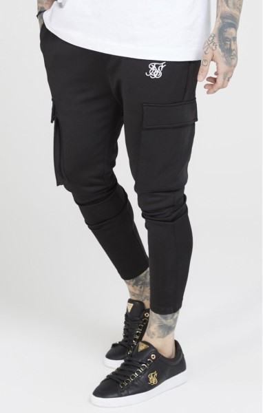 SIKSILK 15510 POLY ATHLETE CARGO PANTS - BLACK