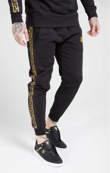 PANTALON SIKSILK 15432 Muscle Fit Nylon Panel Joggers - Negro y Oro