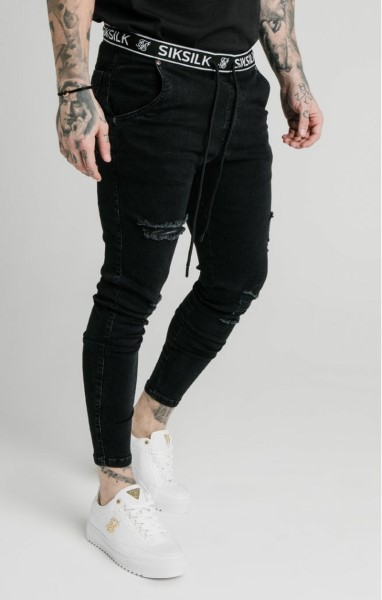 PANTALON SIKSILK 15904 ELASTICATED WAIST SKINNY DISTRESSED DENIM – BLACK