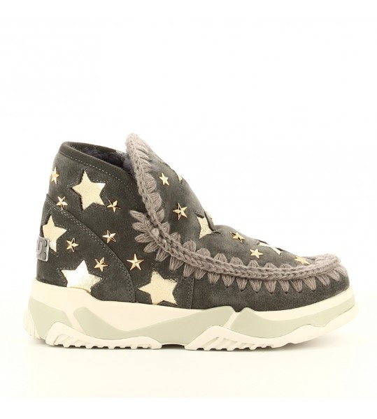 DEPORTIVA MOU ESKIMO TRAINER LEATHER STARS CHARCOAL