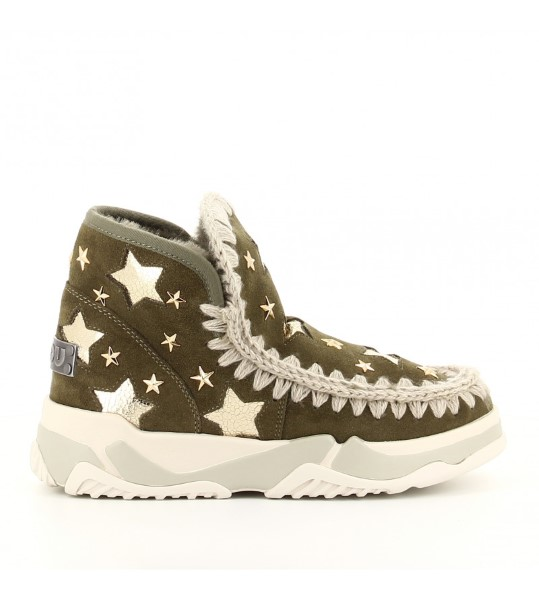 DEPORTIVA MOU ESKIMO TRAINER LEATHER STARS MILITARY